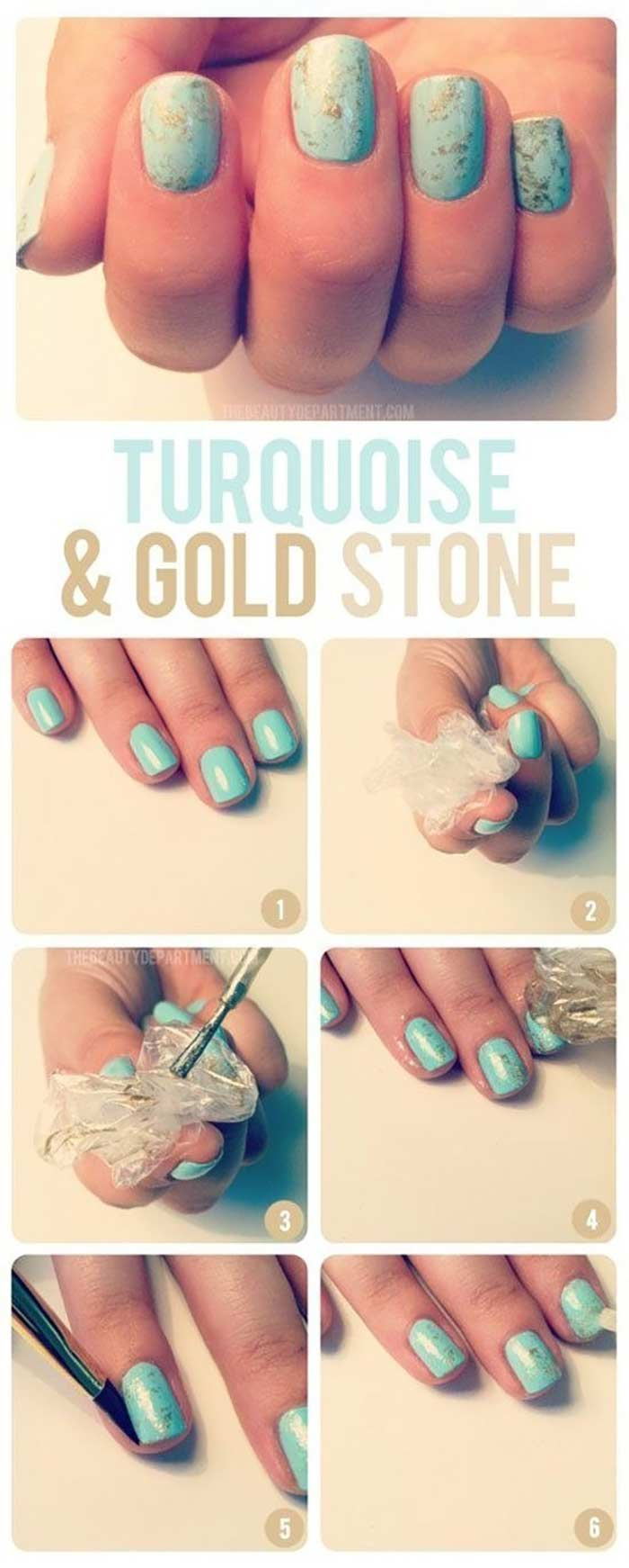 Top 60 easy nail art design tutorials for short nails 2017 turquoise and gold nails cute nail designs for short nails prinsesfo Choice Image