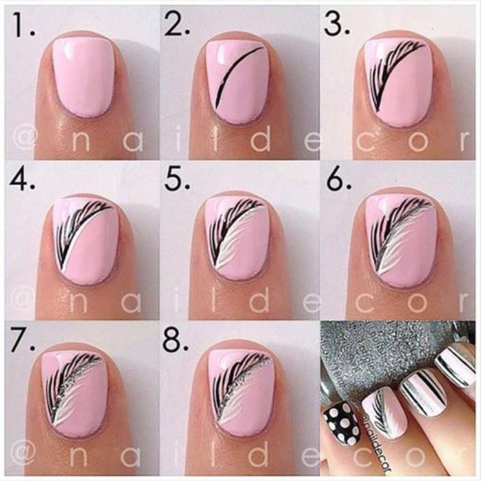 Pink Autumnal Nails - Easy Nail Art Designs For Short Nails