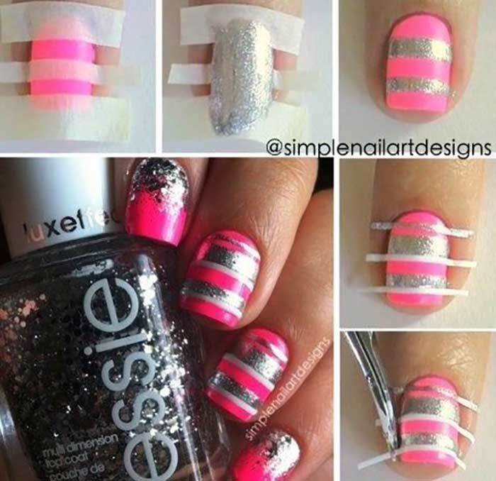 Top 60 easy nail art design tutorials for short nails 2017 pink and silver stripes nail art prinsesfo Choice Image
