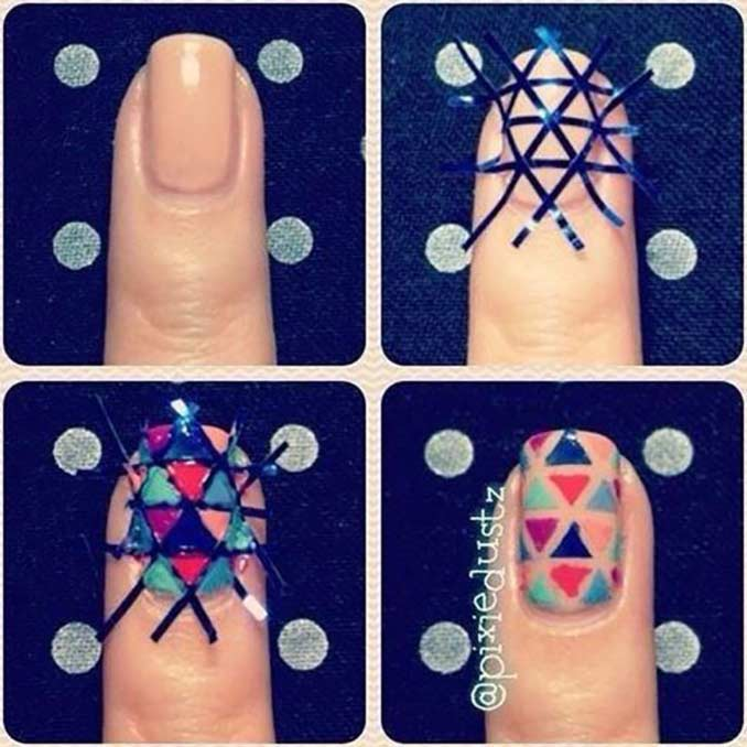 Triangle Nails - Simple Nail Art Tutorial For Short Nails
