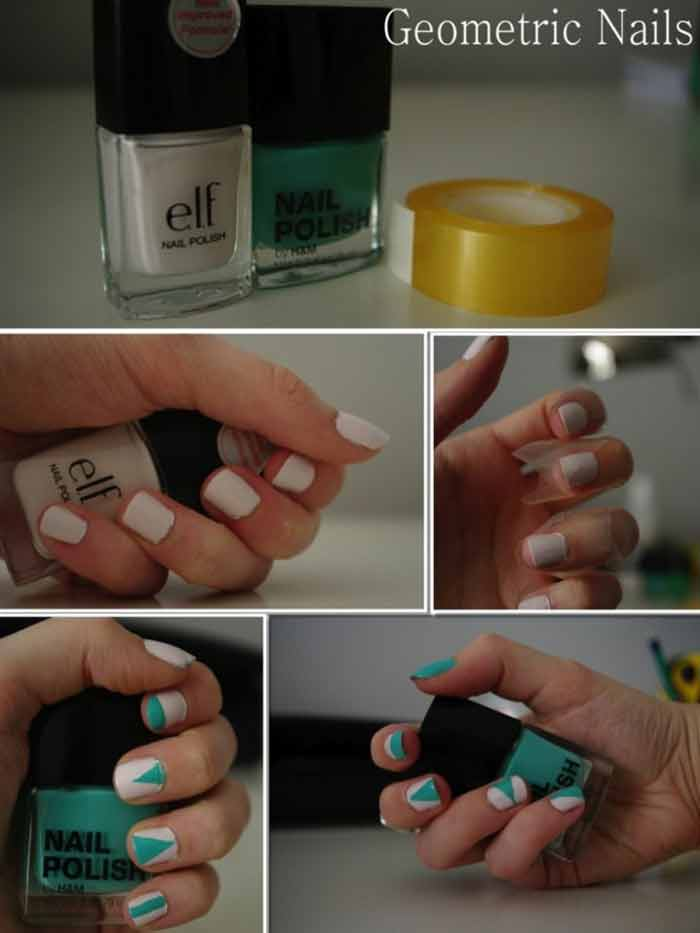 White and Green Geometric Nails - Short Nail Designs