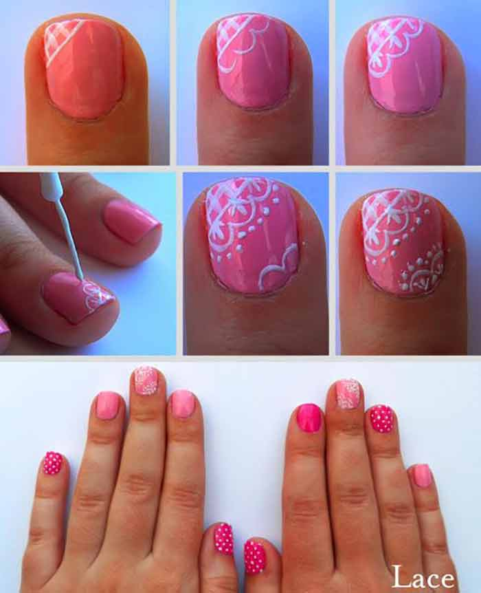 Pink Lace Nail Art For Short Nails - Top 60 Easy Nail Designs For Short Nails - 2018 Update
