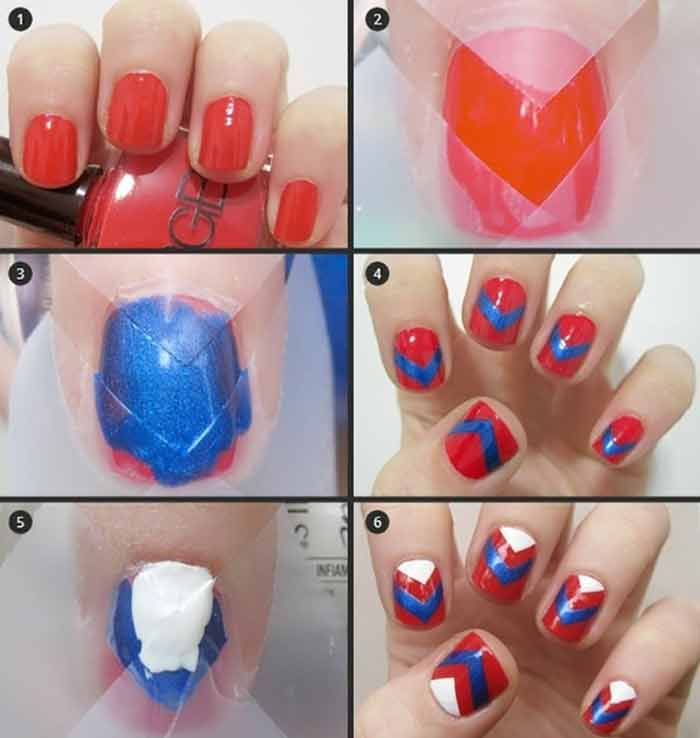 Chevron Nail Art Tutorial for Short Nails