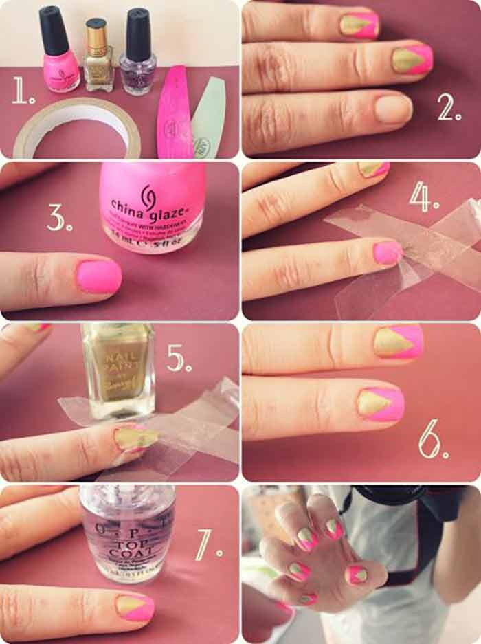 Top 60 easy nail designs for short nails 2018 update gold and pink triangle nail design for short nails prinsesfo Image collections