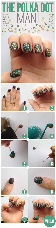 Polka Dot Manicure For Short Nails