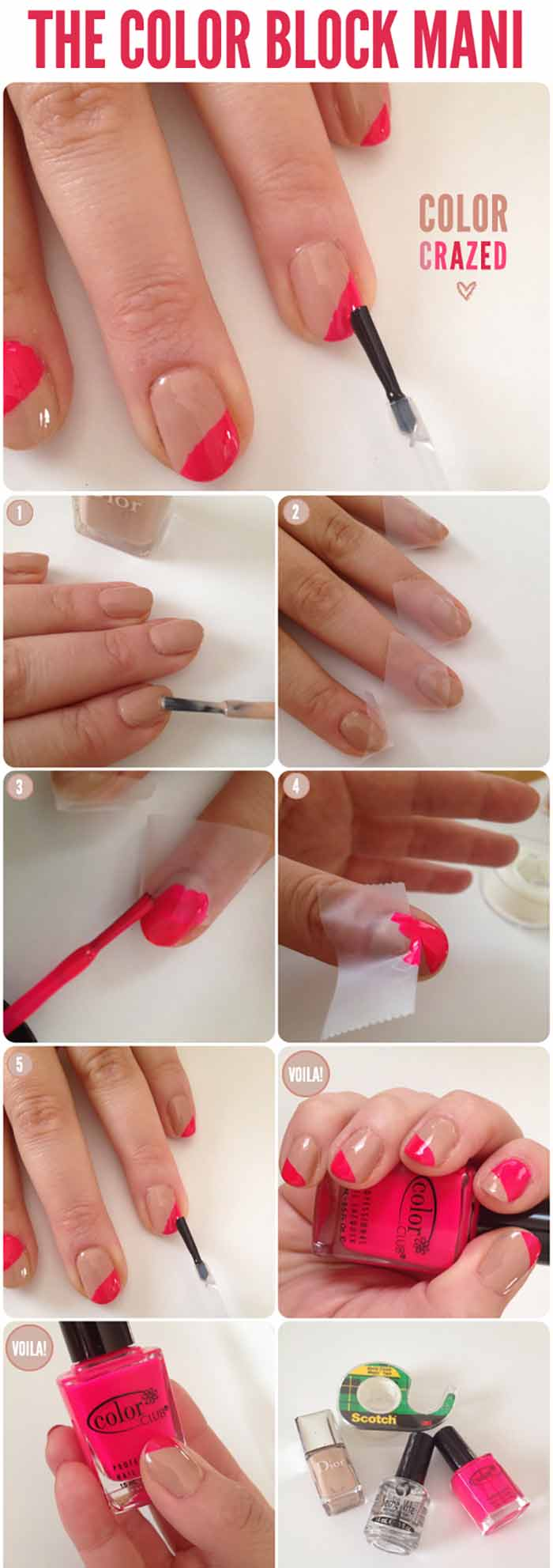 Color Block Nail Art Manicure for Short Nails