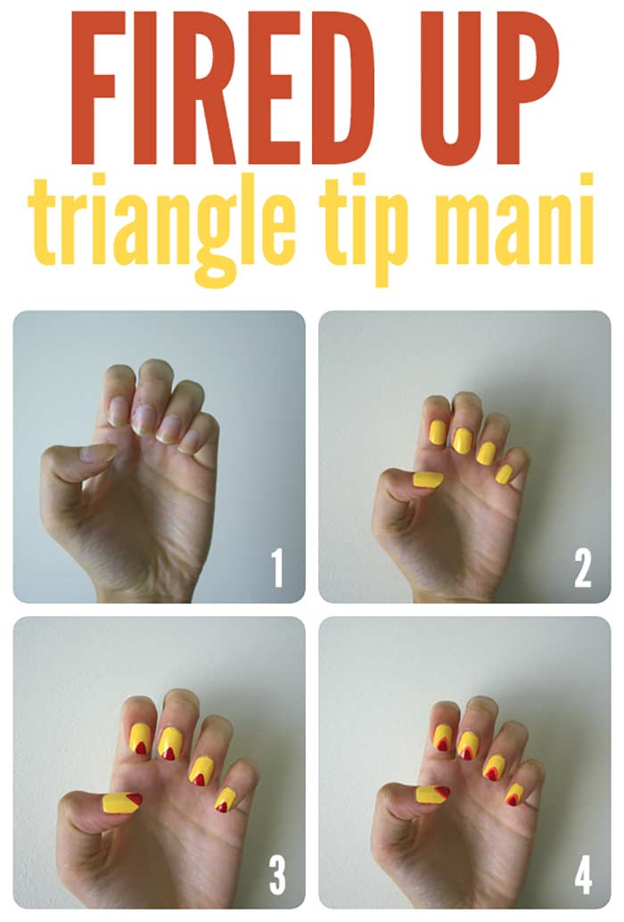 Fired Up Triangle Tip Nail Art for Short Nails