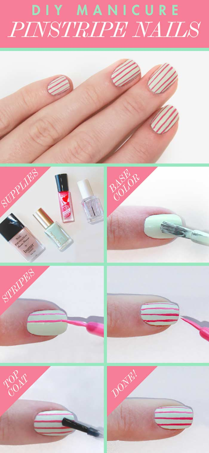 Pinstripe Nails - Short Nail Designs