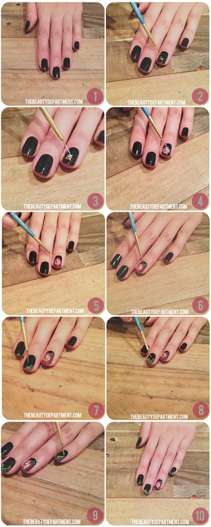 Cross Stitch Manicure - Nail Designs For Short Nails