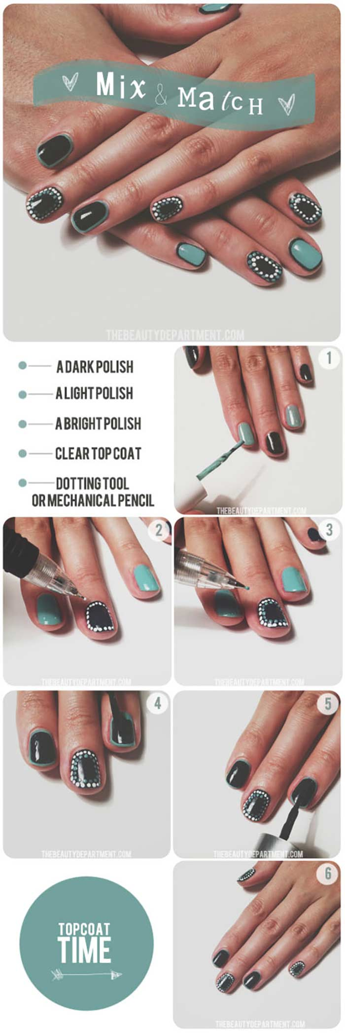 Mix And Match Polka Dots - Short Nail Designs