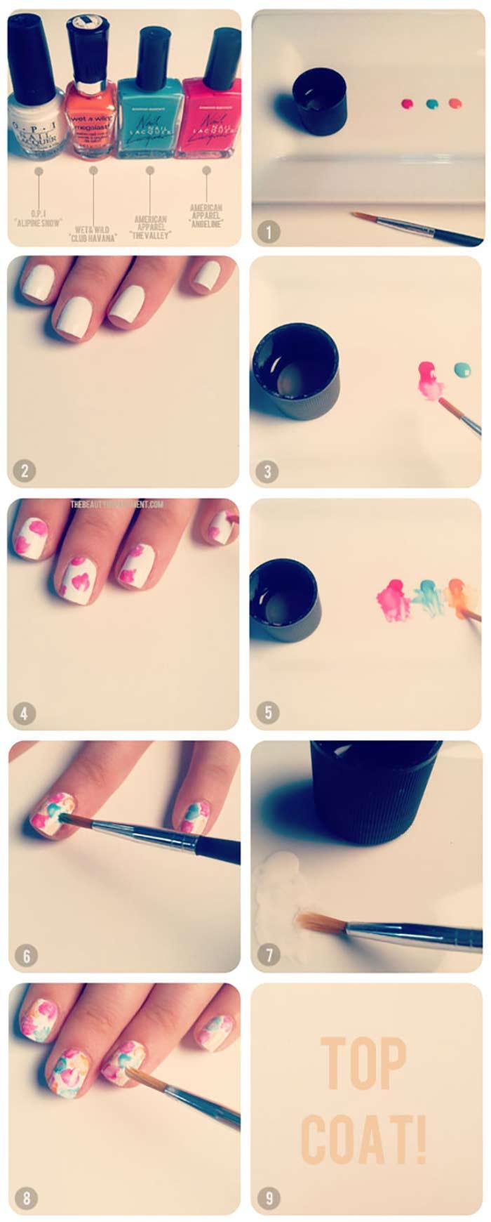 Faded Floral Nail Art For Short Nails
