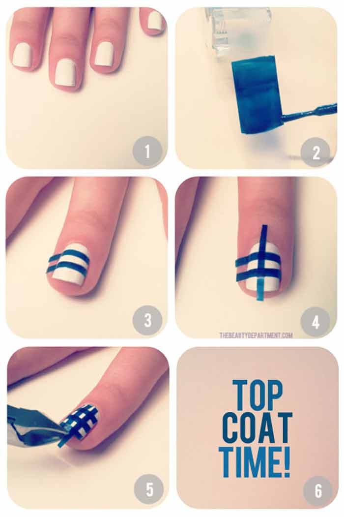 Top 60 easy nail art design tutorials for short nails 2017 gingham accent nail art designs for short nails prinsesfo Choice Image