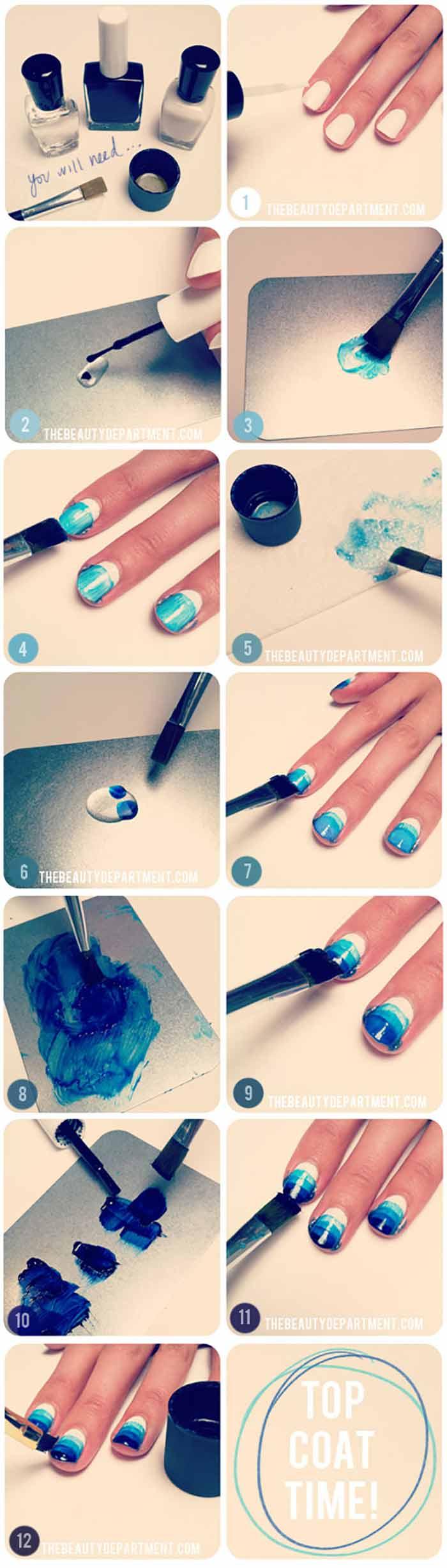 Blue Gradient - Short Nails Design