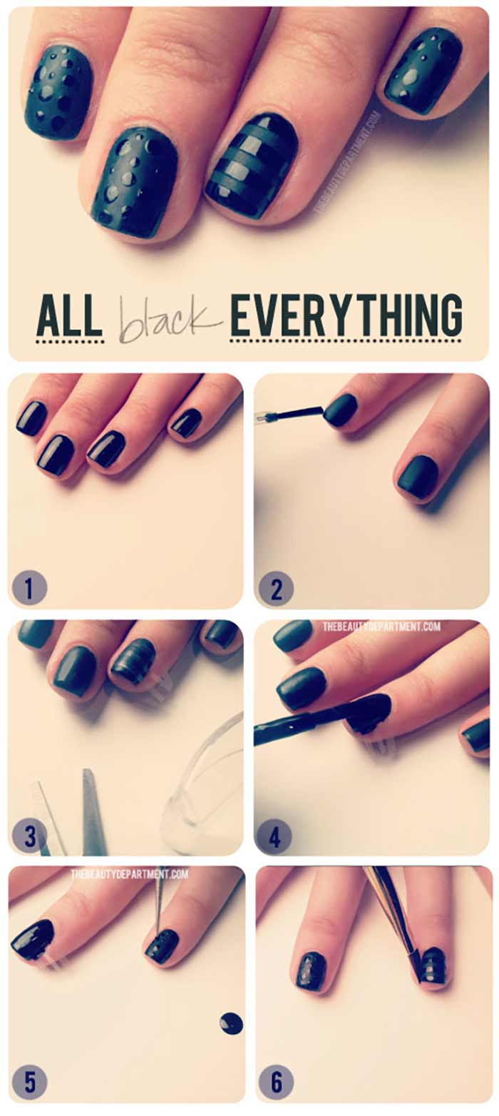 Black Out Nail Design for Short Nails