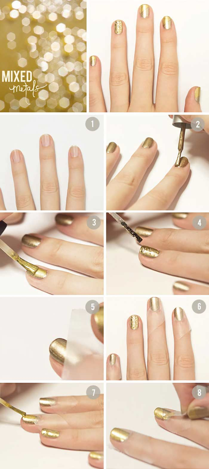 Top 60 easy nail art design tutorials for short nails 2017 all that glitters is gold easy nail design for short nails prinsesfo Image collections