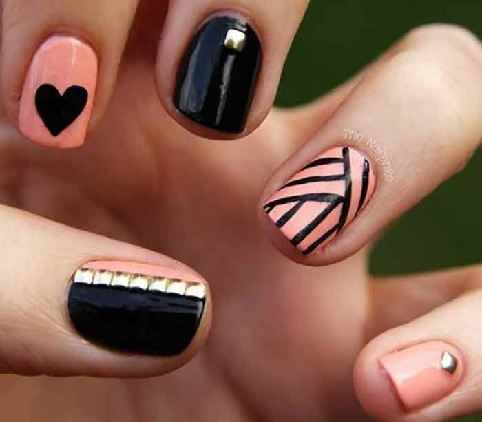 pink glamore simple nail art for short nails - Nail Art Designs Ideas