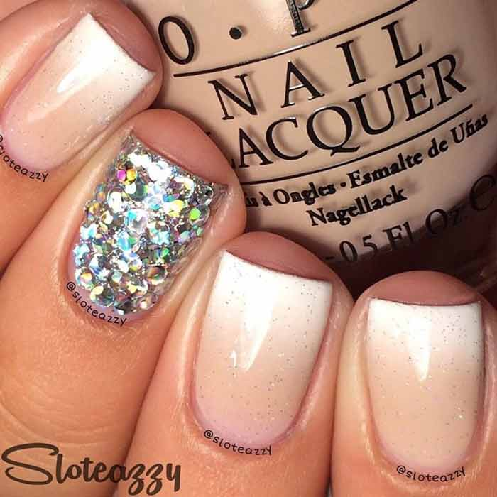 Ombre and Glitter - Cute Short Nail Designs