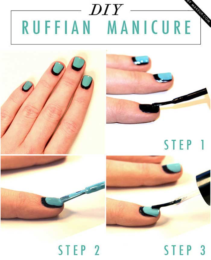 Ruffian Manicure Nail Art Tutorial - Cute Nail Design for Short Nails