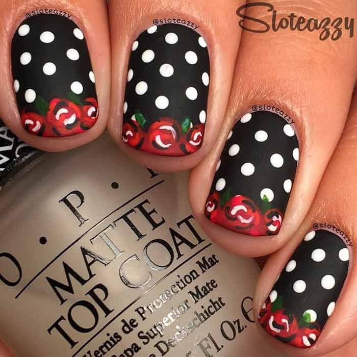 Vintage Roses Nail Art for Short Nails
