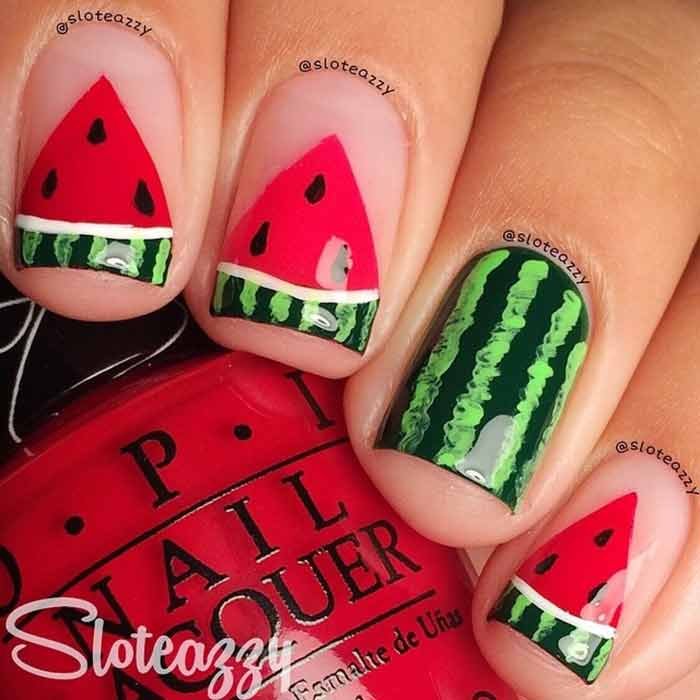 Watermelon Nail Art For Short Nails - Top 60 Easy Nail Designs For Short Nails - 2018 Update