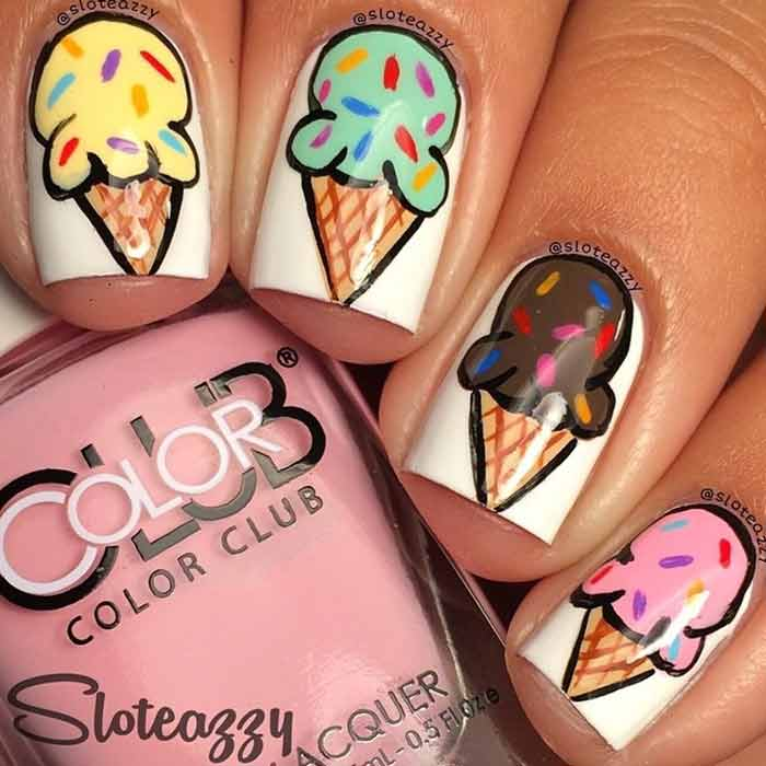 Frozen Treat Nail Design for Short Nails