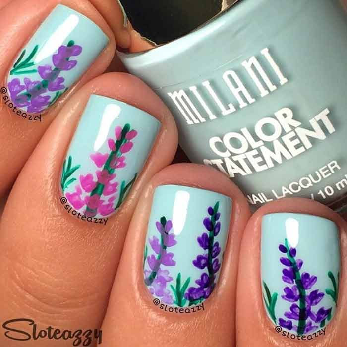 Wild Flowers Nail Art for Short Nails