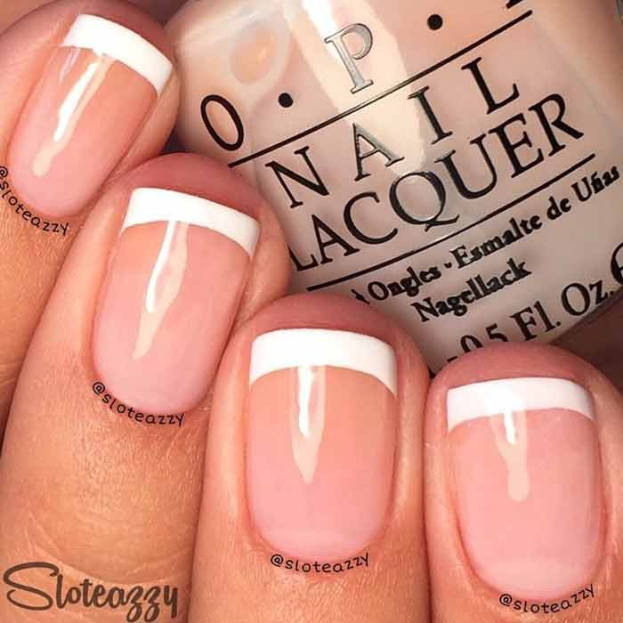 Classic French Manicure for Short Nails