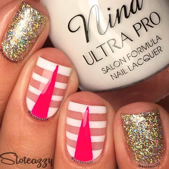 Retro White Pink And Gold Manicure for Short Nails