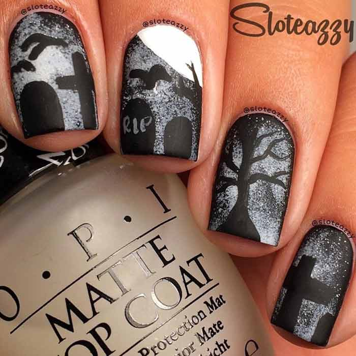 Graveyard Nail Art Design for Short Nails