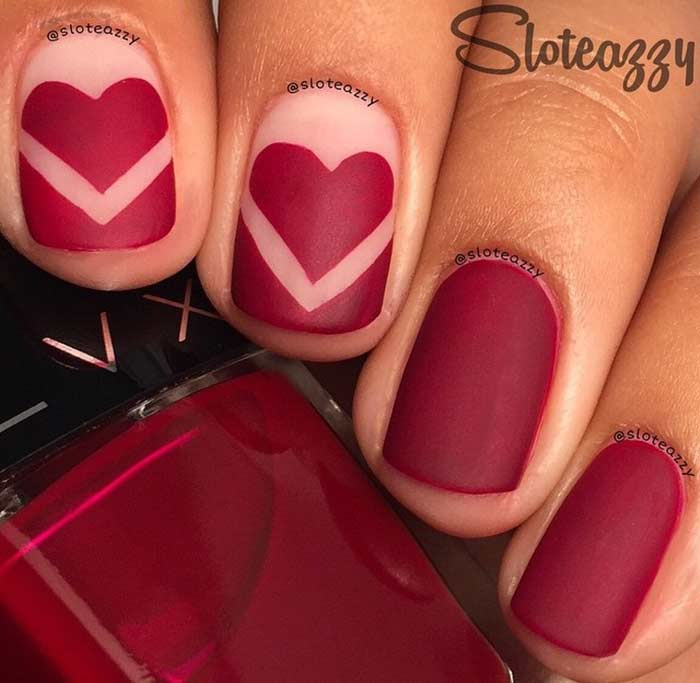 Crimson Love Nail Art for Short Nails