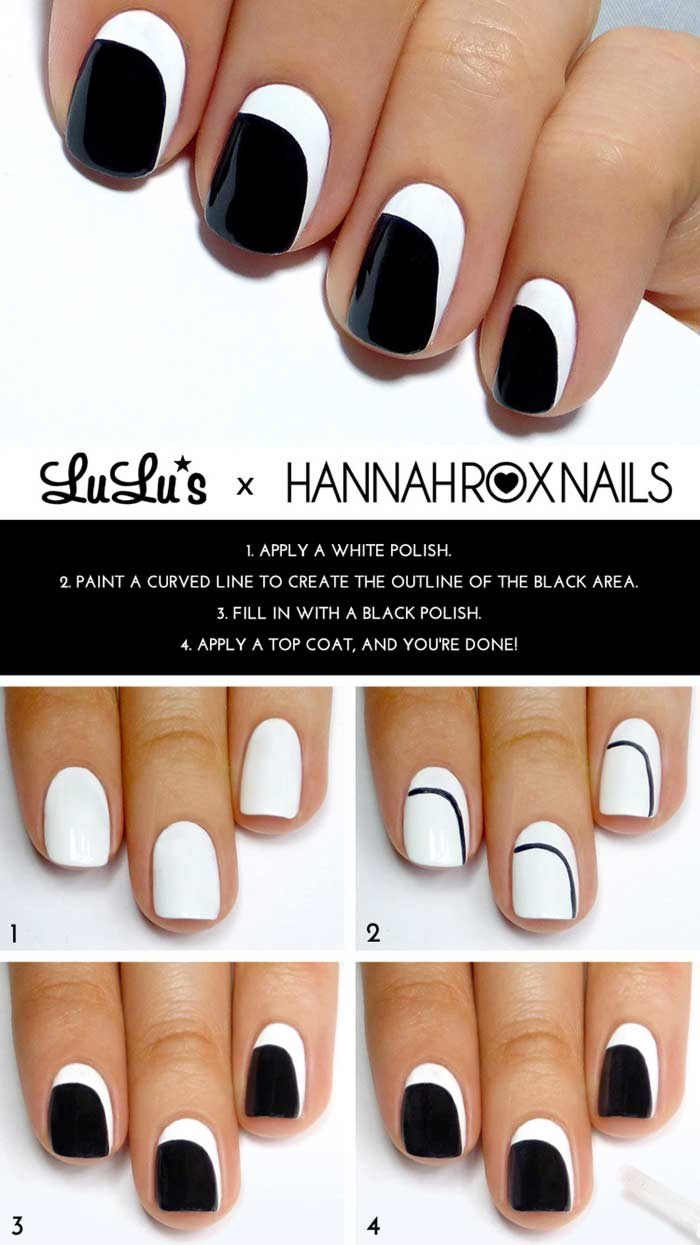 Top 60 easy nail art design tutorials for short nails 2017 monochrome peek a boo nail art prinsesfo Images
