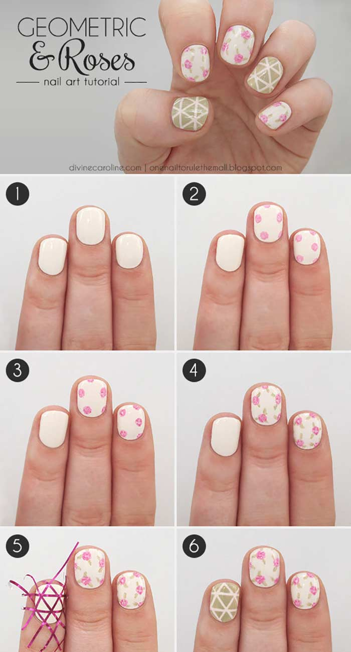 Geometric & Roses Nail Art Tutorial for Short Nails