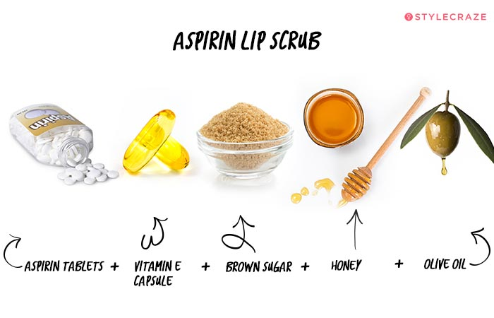 Homemade Lip Scrub - Aspirin Lip Scrub