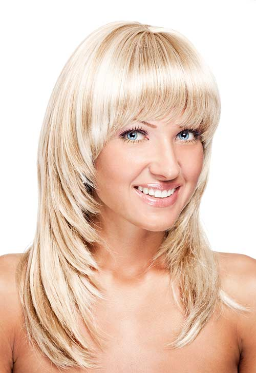 Flicked-In Feather Cut With Curved Bangs