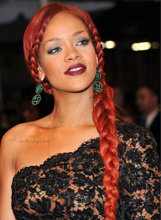 Long Copper-Red Side Braid with Braided Wraparound