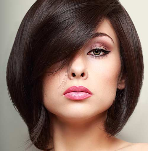 Side-Swept Fringe For Thick Hair