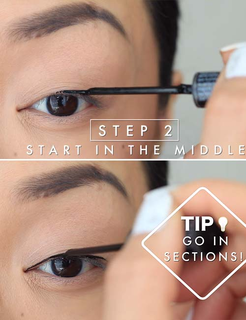 How To Apply Liquid Eyeliner - Step 2 Start In The Middle