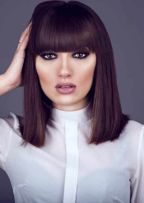 Thick Blunt Bangs With Blunt Lob
