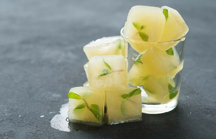 Green Tea Ice Cubes For Tired And Puffy Eyes - Ice Cube On Face