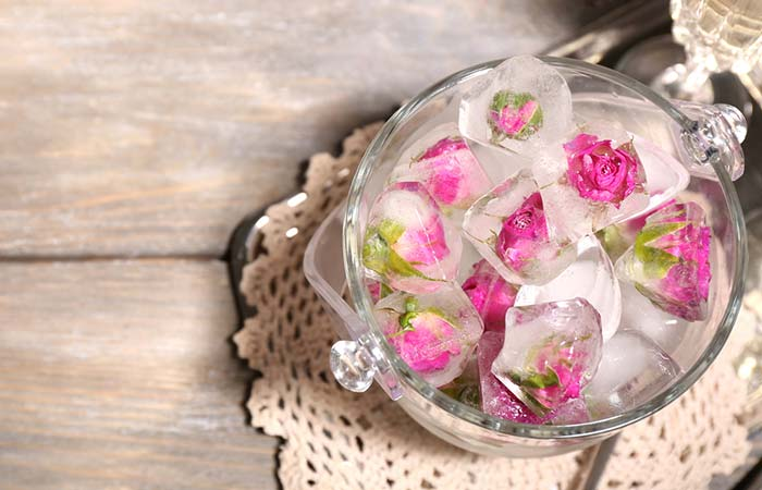 Ice Cube On Face - Rose Petal Antibacterial Ice Cubes