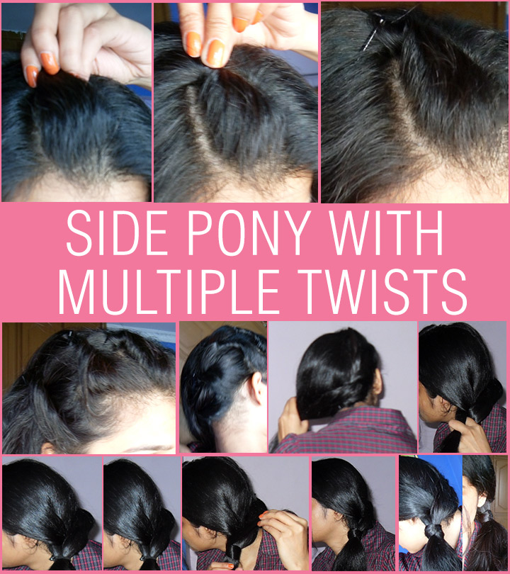 Side Pony with Multiple Twists – Detailed Step By Step Tutorial With Images