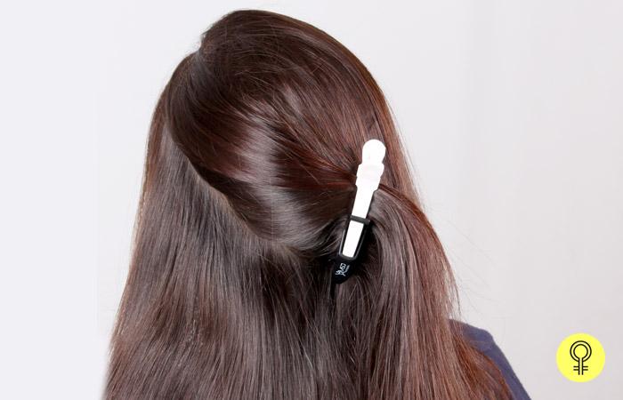 divide your hair diagonally