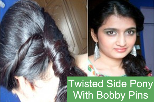 twisted side pony with bobby pins
