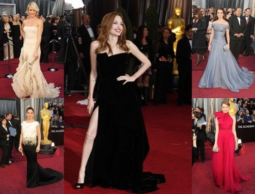 Hollywood actors with bare shoulders and no points at Oscars 2012