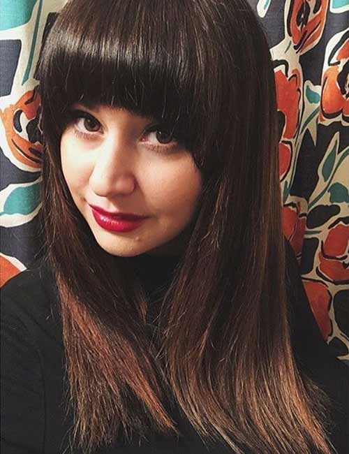 Best Long Hair With Bangs Looks - Full Straight Hair With Tapered Thick Bangs