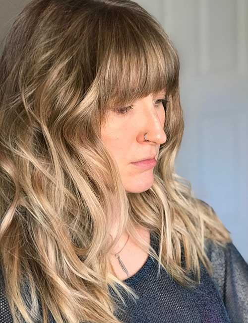 Best Long Hair With Bangs Looks - Balayage Bangs