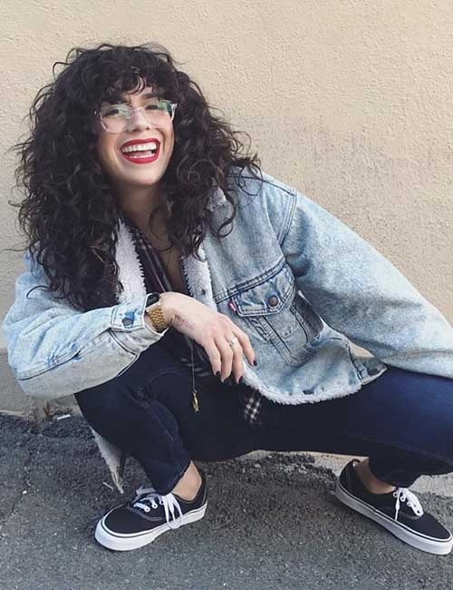 Best Long Hair With Bangs Looks - Curly Do With Long Bangs