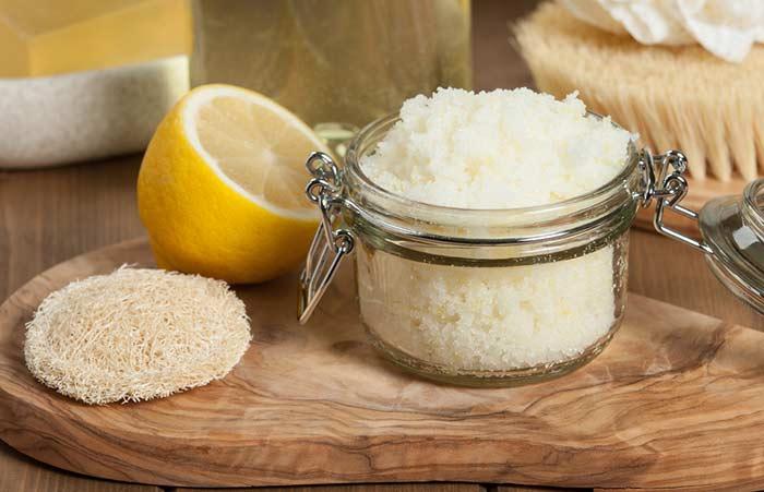 3. Baking Soda, Lemon, And Coconut Oil Body Polish
