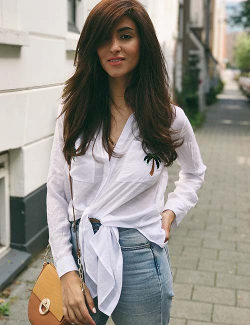 Best Long Hair With Bangs Looks - Long Layers With Side Swept Bangs
