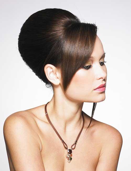 Best Long Hair With Bangs Looks - Beehive Bun With Long Short Bangs